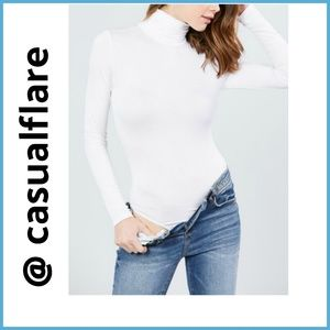 SOFT! Rayon Jersey Turtleneck Bodysuit, Off White